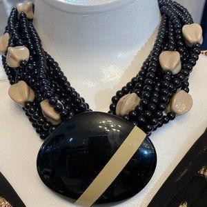 ANGELA CAPUTI / ITALY Black/Tan Beaded Multi-Strand Necklace w/Magnetic Closure